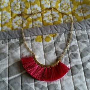 Stella and dot pink fringe necklace